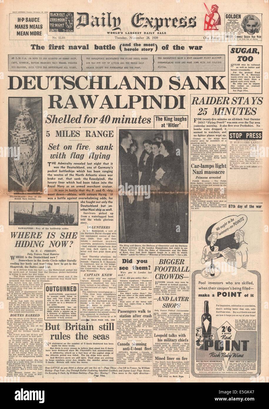 1939 daily Express Titelseite Berichterstattung Händler Kreuzer SS Rawalpindi versenkt durch Schlachtkreuzer Stockbild