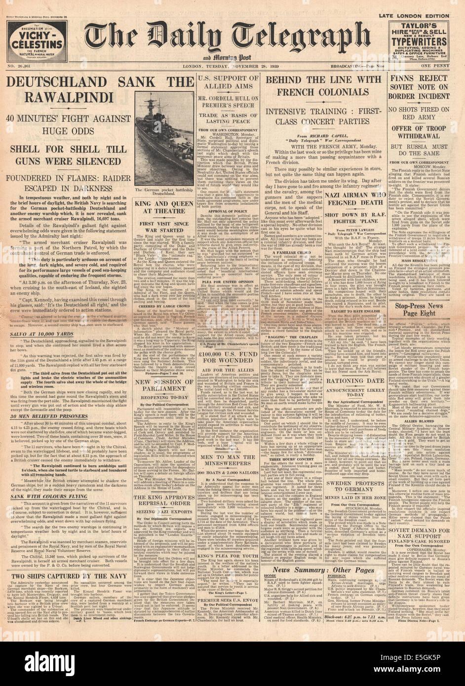 1939 daily Telegraph Titelseite Berichterstattung Händler Kreuzer HMS Rawalpindi versenkt durch Schlachtkreuzer Stockbild