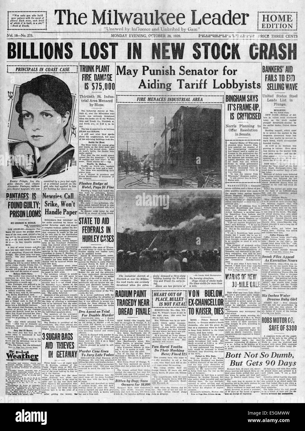1929 Milwaukee Journal (USA) Titelseite berichtet das Wall Street Crash Stockfoto