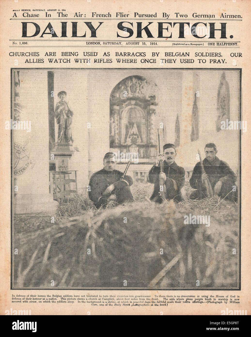 1914 daily Sketch Titelseite Berichterstattung belgische Soldaten ...