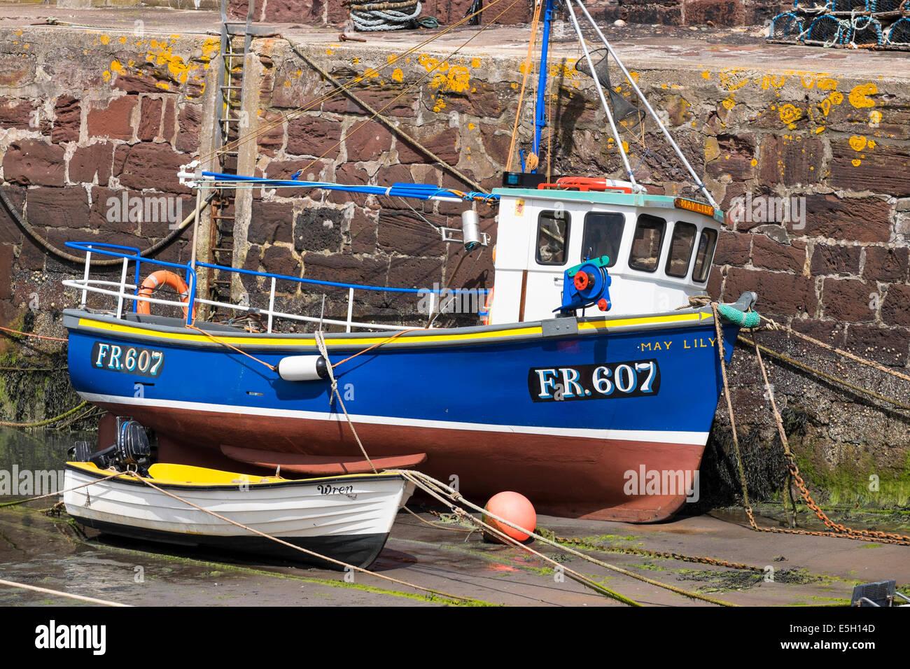 Mall-Fischerboot im Hafen von Pennan in Aberdeenshire, Schottland Stockbild