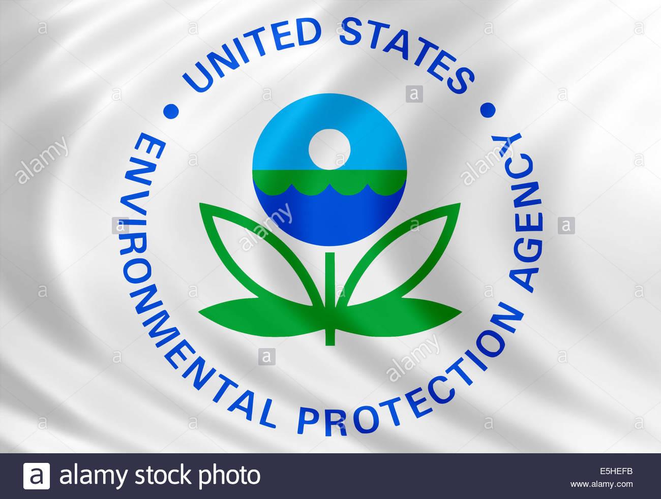 United States Environmental Protection Agency Symbol Logo mit Flagge von Seide Stockbild