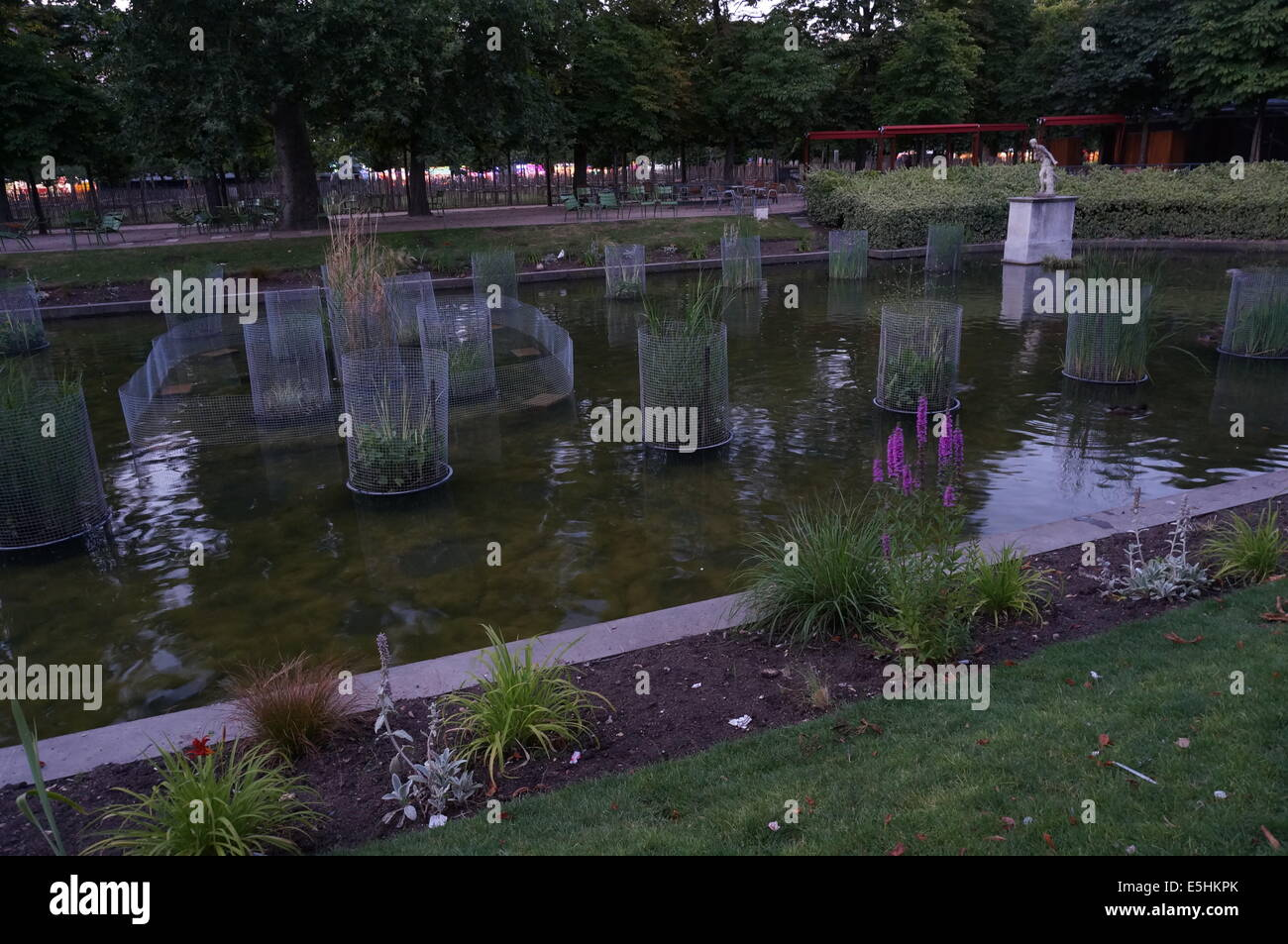 Jardin Des Tuileries Garden Flower Teich Mit Terrasse Und Stuhle In