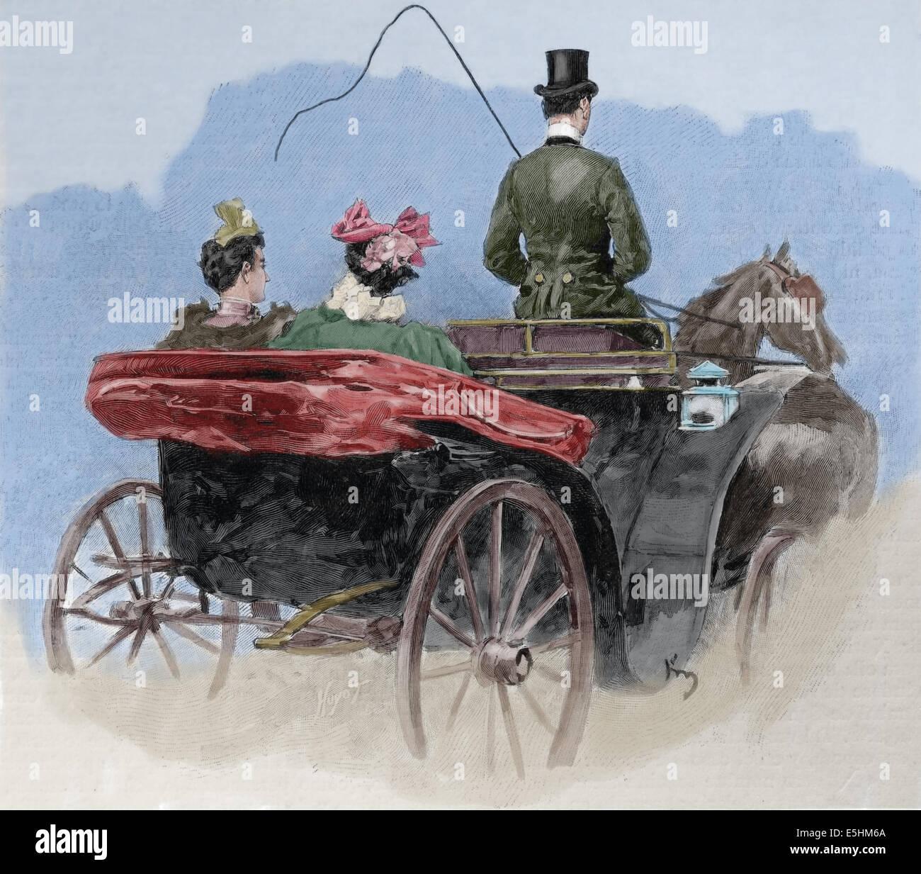 Zu transportieren. Die Beförderung. Italien. Gravur von Huyot erstellt. Künstlerische Darstellung, 1887. Stockbild