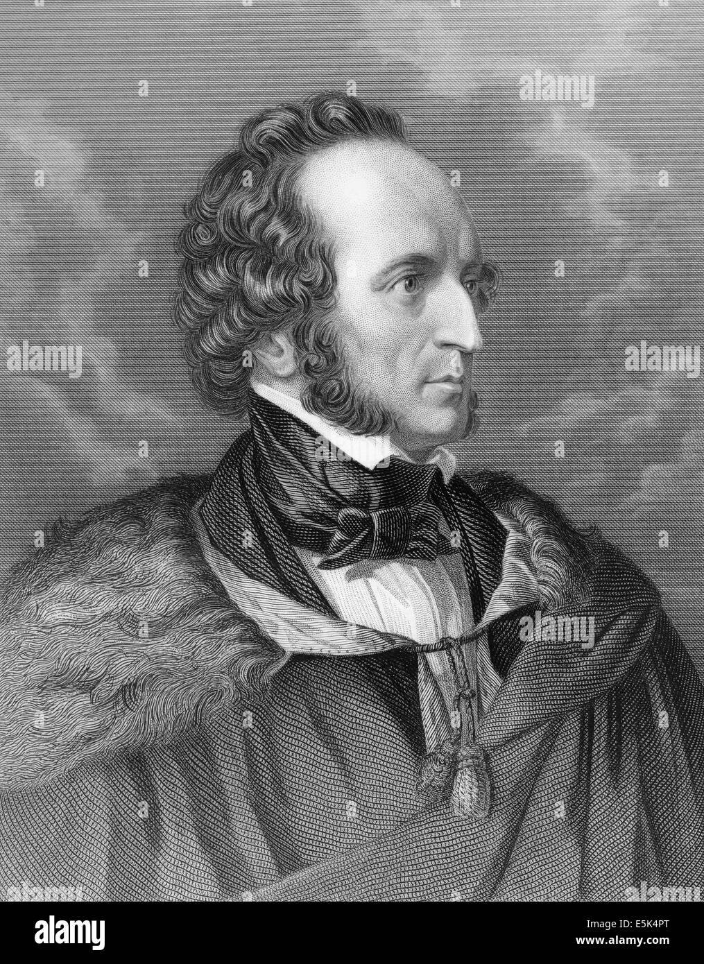 Jakob Ludwig Felix Mendelssohn Bartholdy, 1809-1847, ein deutscher Komponist, Stockbild