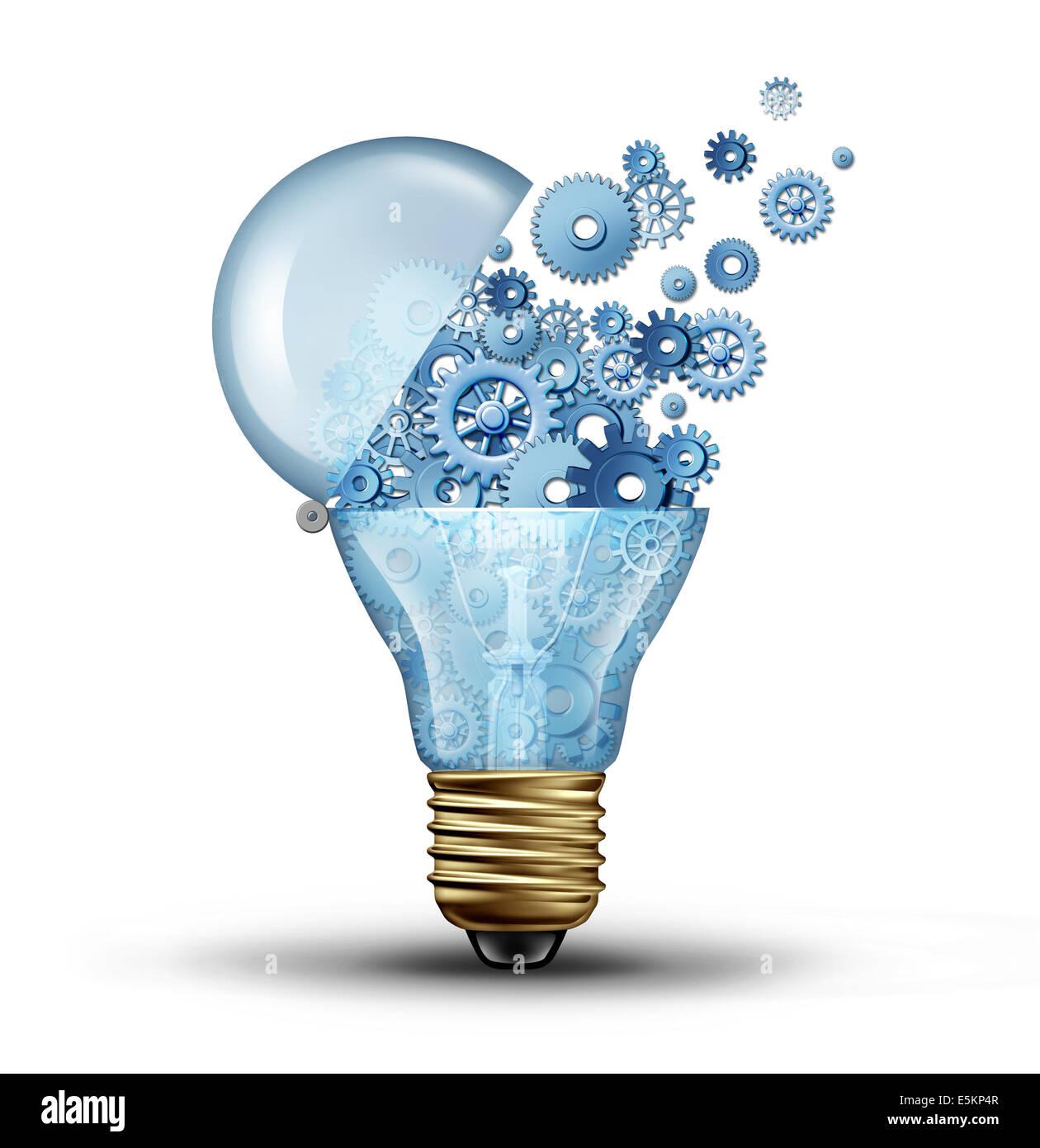 Technologie und Kommunikation Kreativkonzept als eine offene Tür Licht Lampe Tranfering Getriebe und Zahnräder Stockbild