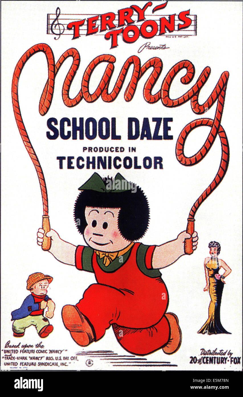 SCHOOL DAZE, animiert Plakatkunst für Terry Toons kurze, von links: Sluggo, Nancy, Fritzi Ritz, 1942, TM und Stockbild