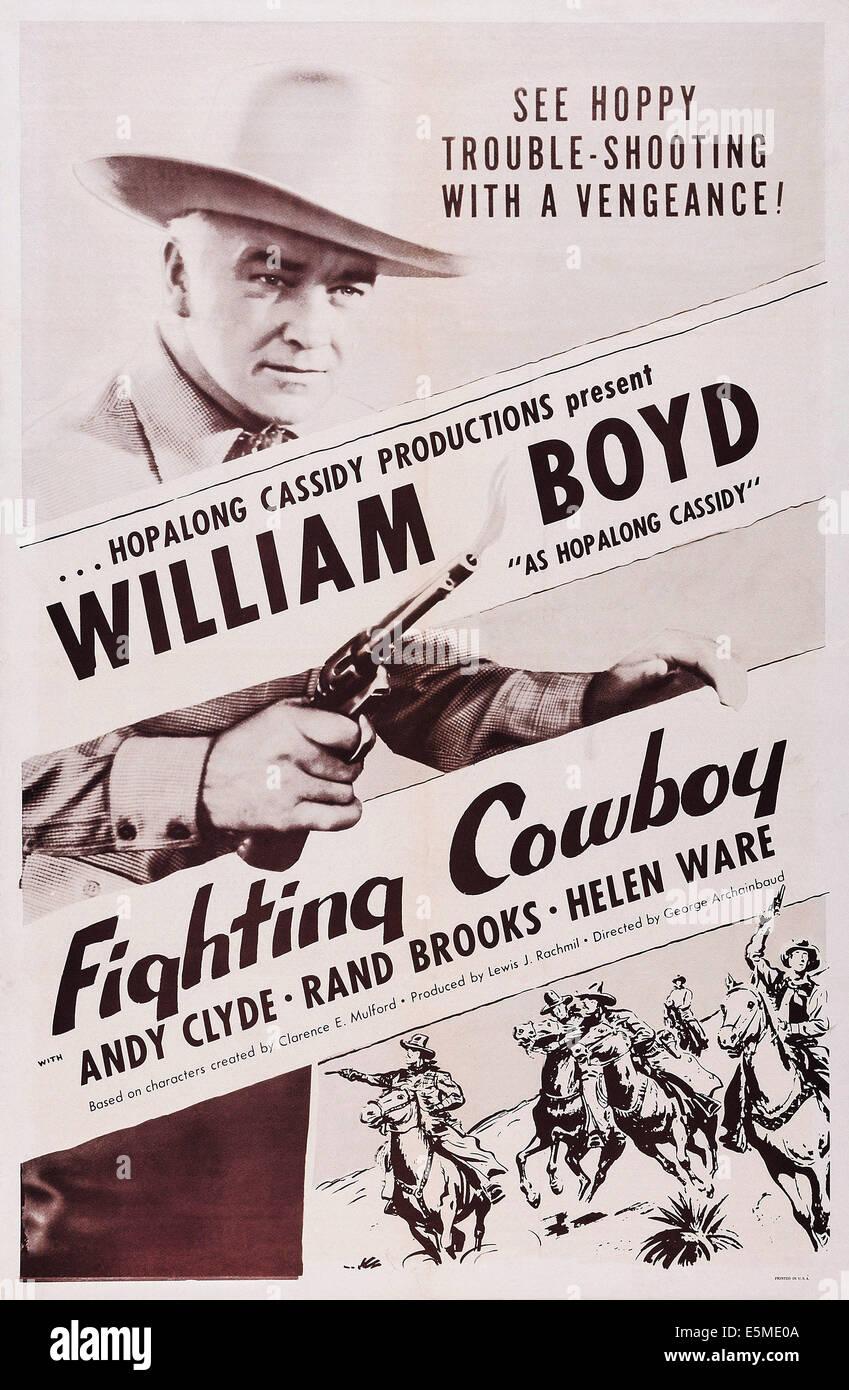DER Kampf gegen COWBOY, William Boyd auf Plakatkunst, ca. 1950er-Jahre. Stockbild