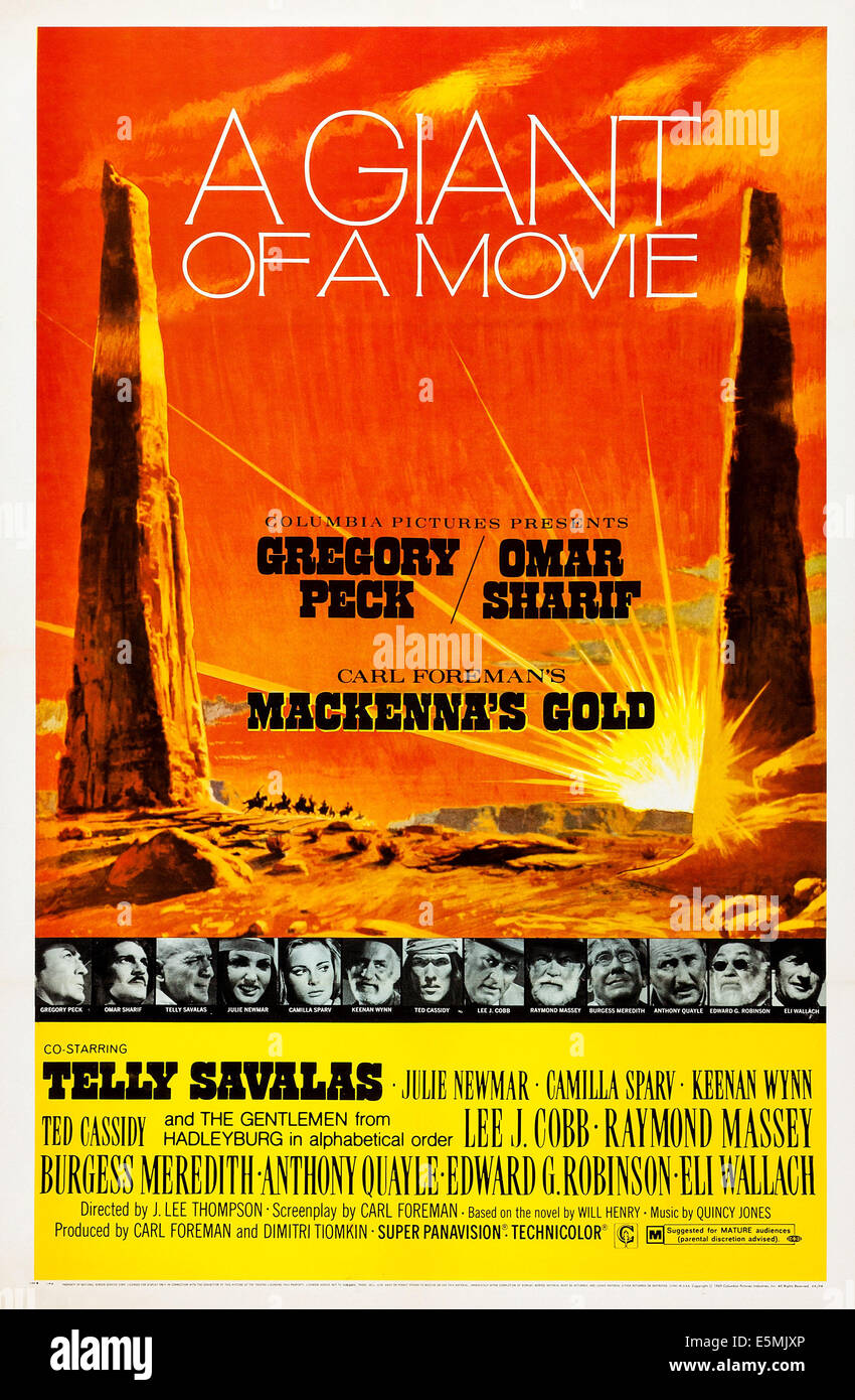 MACKENNA es GOLD, US-Plakat, unten von links: Gregory Peck, Omar Sharif, Telly Savalas, Julie Newmar, Camilla Sparv, Stockbild