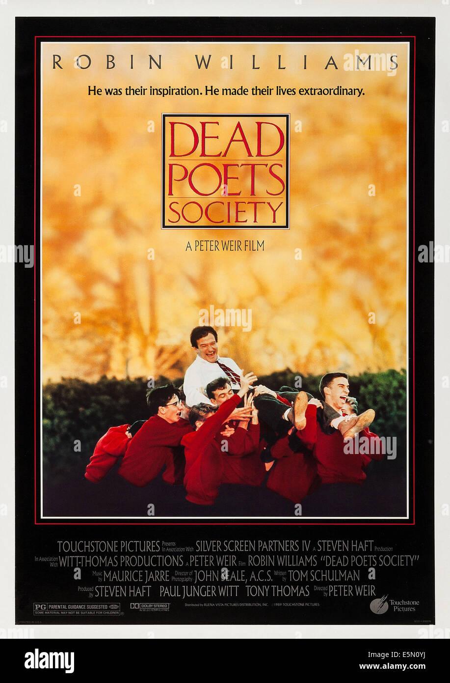 DEAD POETS SOCIETY, USA-Plakatkunst, Top: Robin Williams, 1989, © Buena Vista Bilder/Courtesy Everett Collection Stockbild