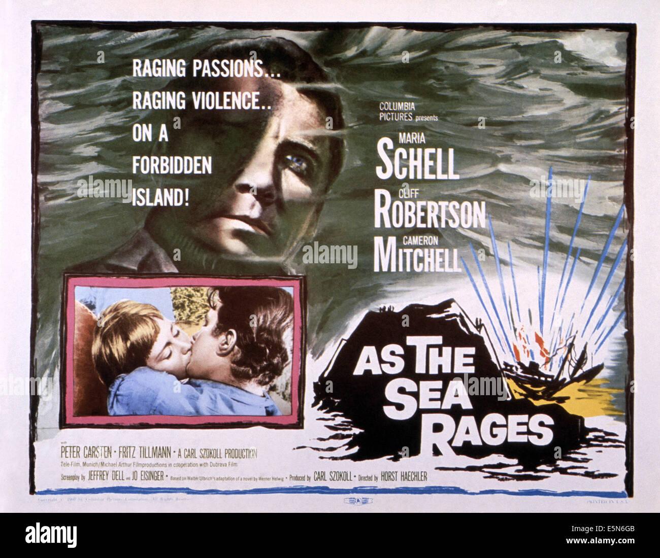 ALS das Meer tobt, Cliff Robertson (oben), unten von links: Maria Schell, Cliff Robertson, 1959 Stockbild