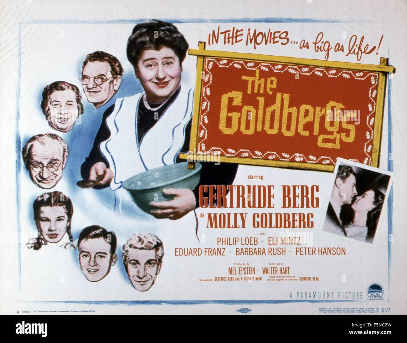 GOLDBERGS, Gertrude Berg (Schüssel), leitet von oben: Philip Loeb, Sarah Krohner, Eli Mintz, Arlene McQuade, Stockbild