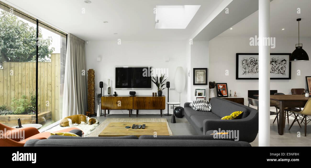 Living Room of High Barnet Einfamilienhaus, London durch Paul Archer Design Stockbild
