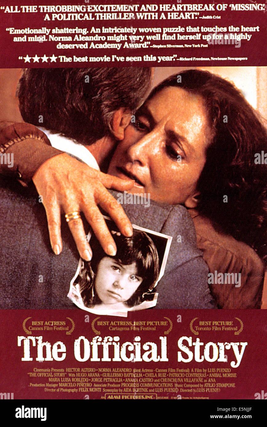 DIE offizielle Geschichte, Norma Aleandro, 1985 Stockbild