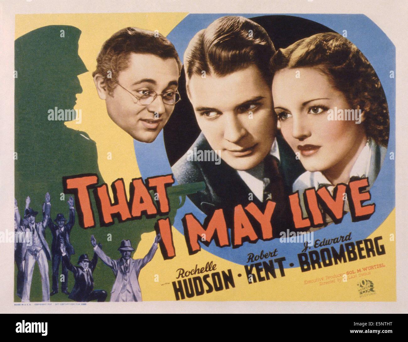DASS ich lebe, US Lobbycard, von links: J. Edward Bromberg, Robert Kent, Rochelle Hudson, 1937. TM & Copyright Stockbild