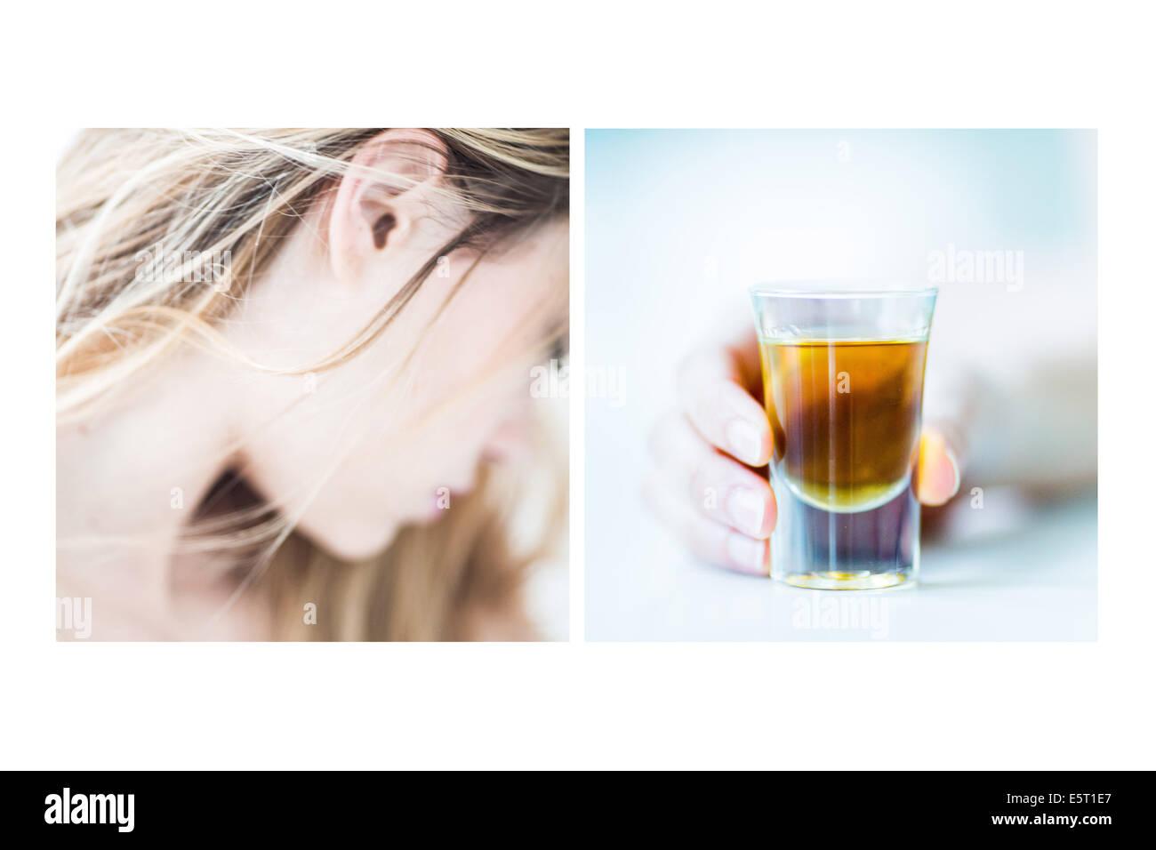 Konzept des Weibes Alkoholismus. Stockbild