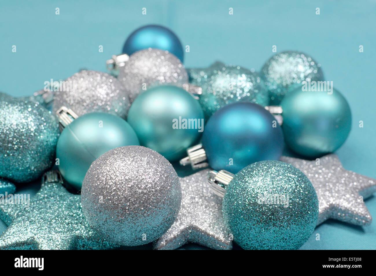 Material Christbaumkugeln.Festlichen Hintergrund Von Aqua Turkis Blass Blau Glitzer