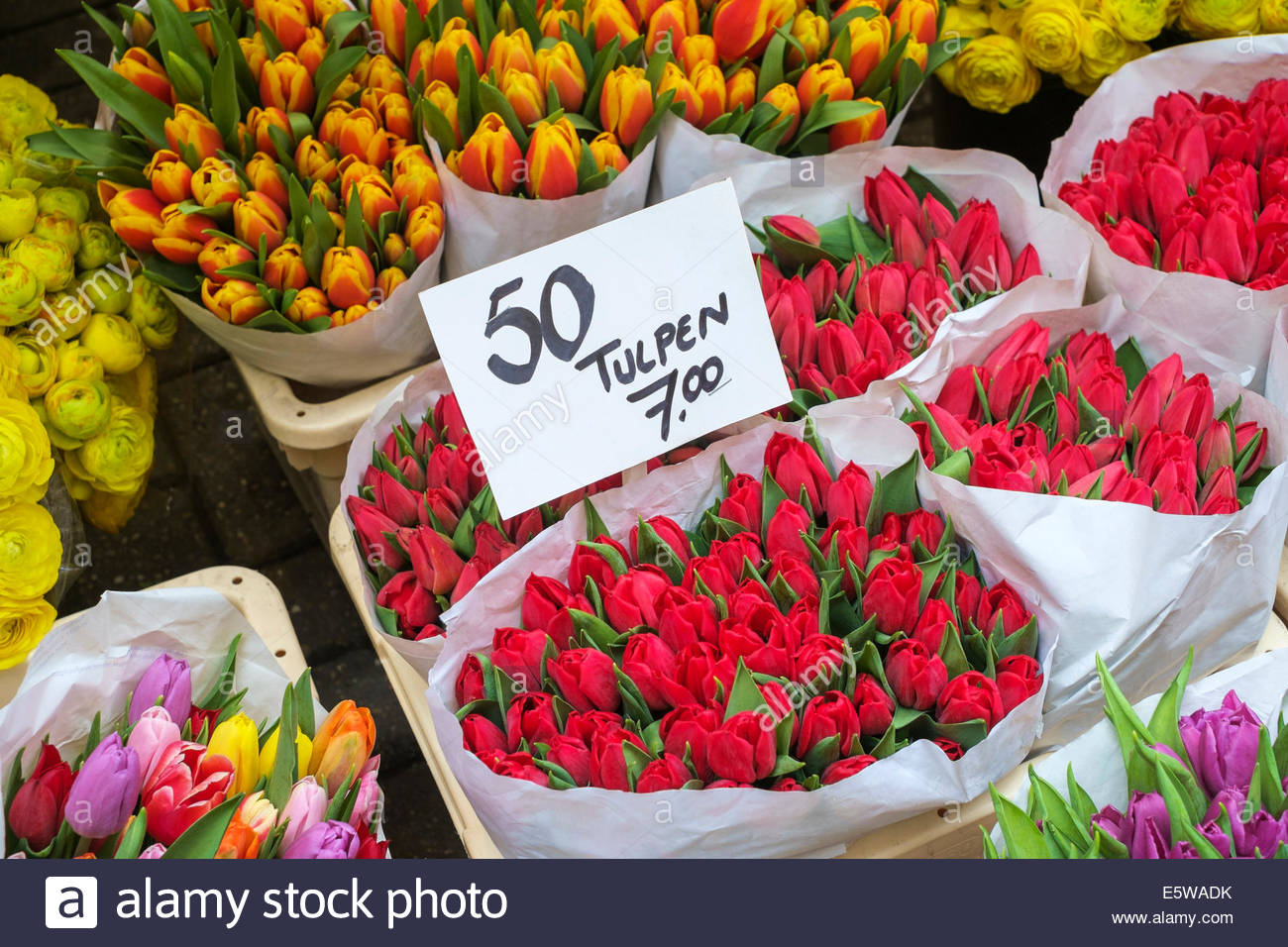 red tulips amsterdam flower market stockfotos red tulips amsterdam flower market bilder alamy. Black Bedroom Furniture Sets. Home Design Ideas
