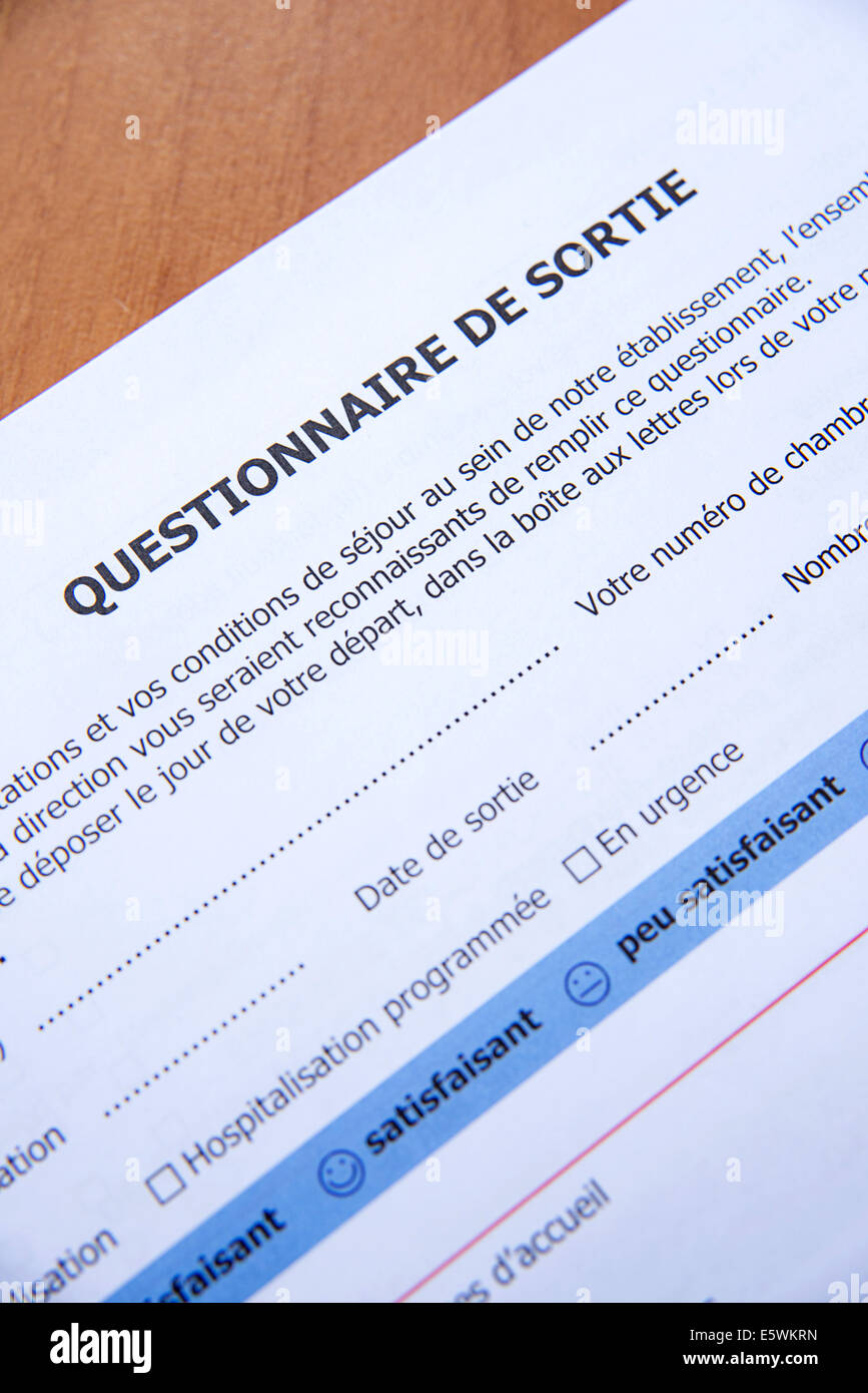 Krankenhaus-Fragebogen Stockbild