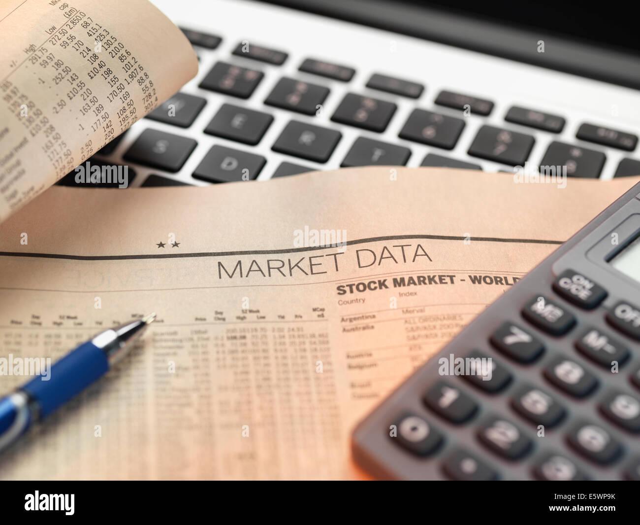 Finanzdienstleistungen, Anzeigen der Finanzmärkte zu investieren Stockfoto