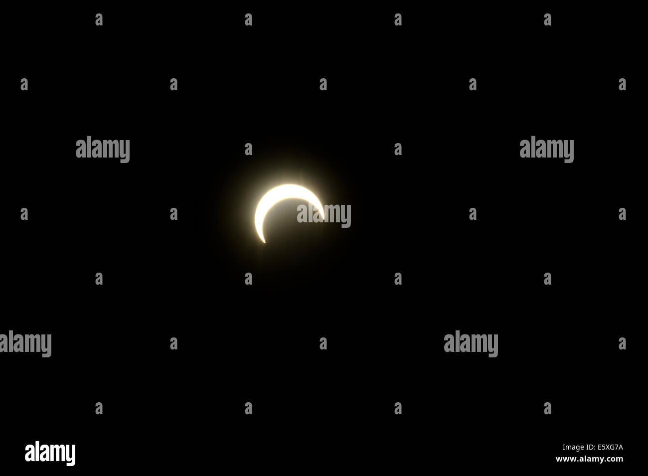 Eine Nahaufnahme von der Mondfinsternis im südlichen Utah. Stockbild