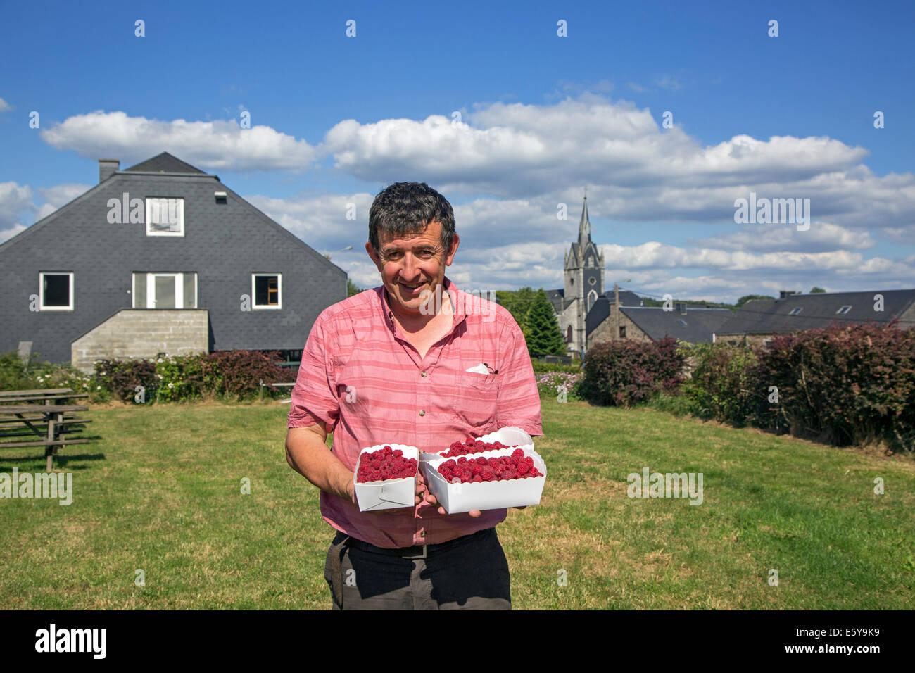 Mann mit frisch gepflückten roten Himbeeren (Rubus Idaeus), lokale Spezialität an Daverdisse, Luxemburg, Stockbild
