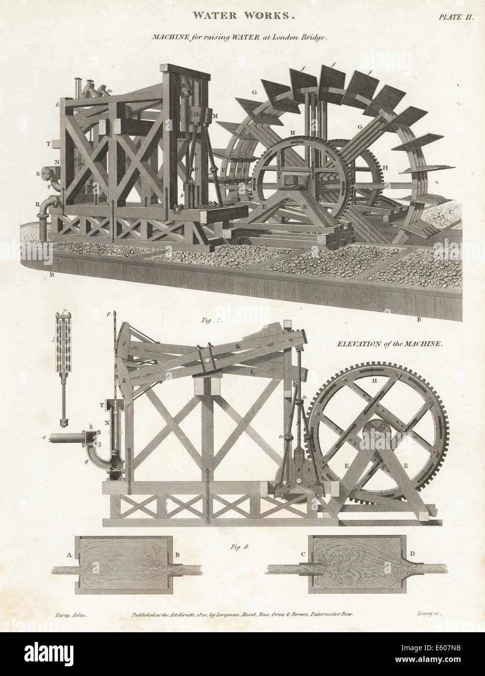 Maschine zum Heben von Wasser an der London Bridge, 19. Jahrhundert. Stockbild