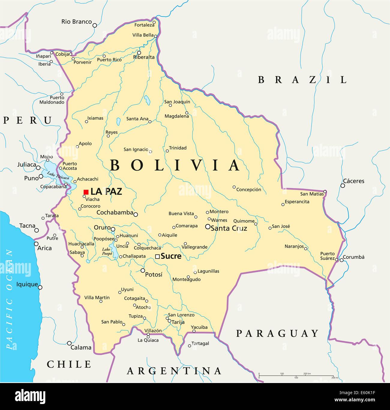 bolivien karte Bolivien politische Karte Stockfoto, Bild: 72544347   Alamy