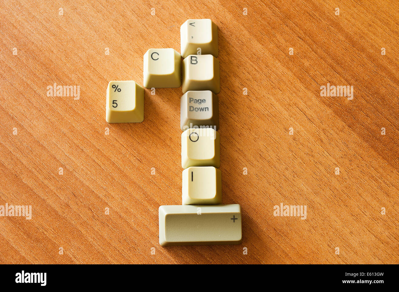 Nummer eins mit Keyboard-Tasten Stockbild