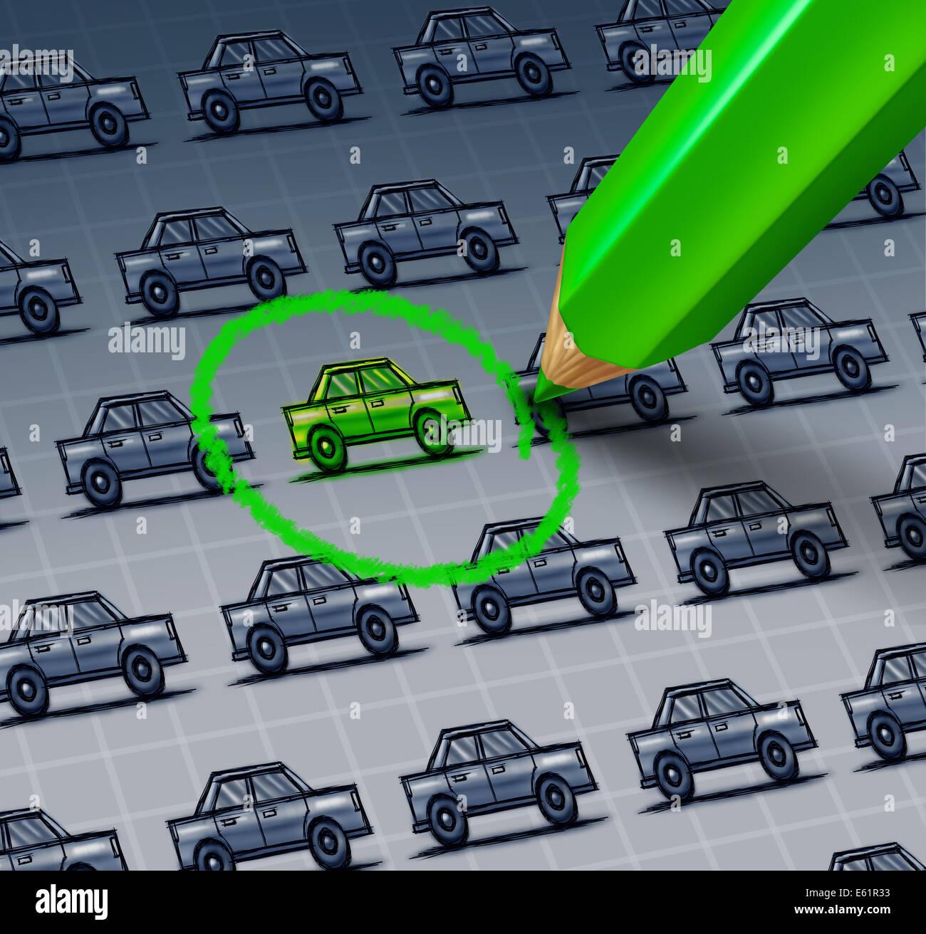 Grünes Auto Wahl Konzept als eine Zeichnung von einer Gruppe von Autos mit einem grünen Bleistift zeichnen Stockbild
