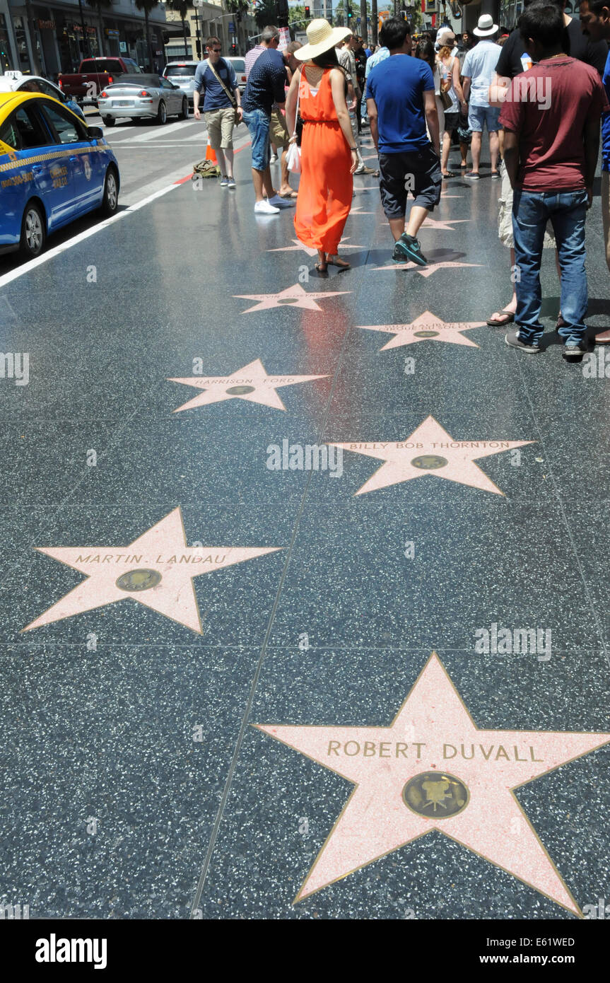 Walk of Fame am Hollywood Boulevard in Los Angeles, Kalifornien Stockbild