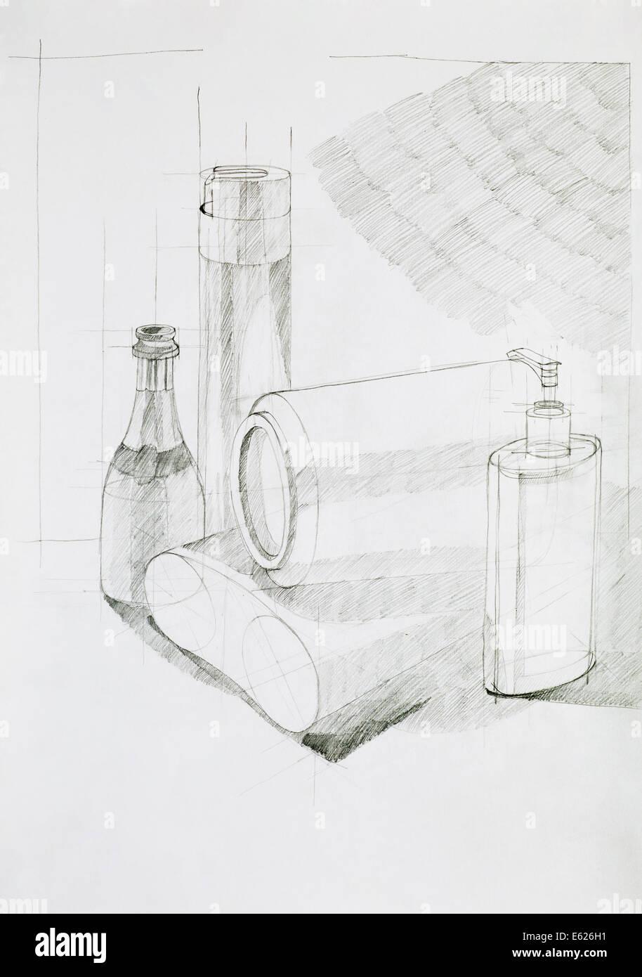 die Hand gezeichnete Illustration, künstlerische Studie über Objekte Zusammensetzung Stockbild