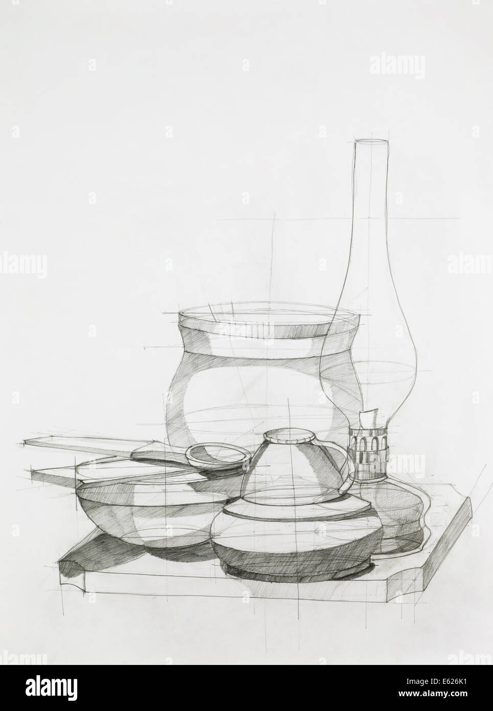 handgemalte künstlerische Studium der Komposition mit Objekten Stockbild