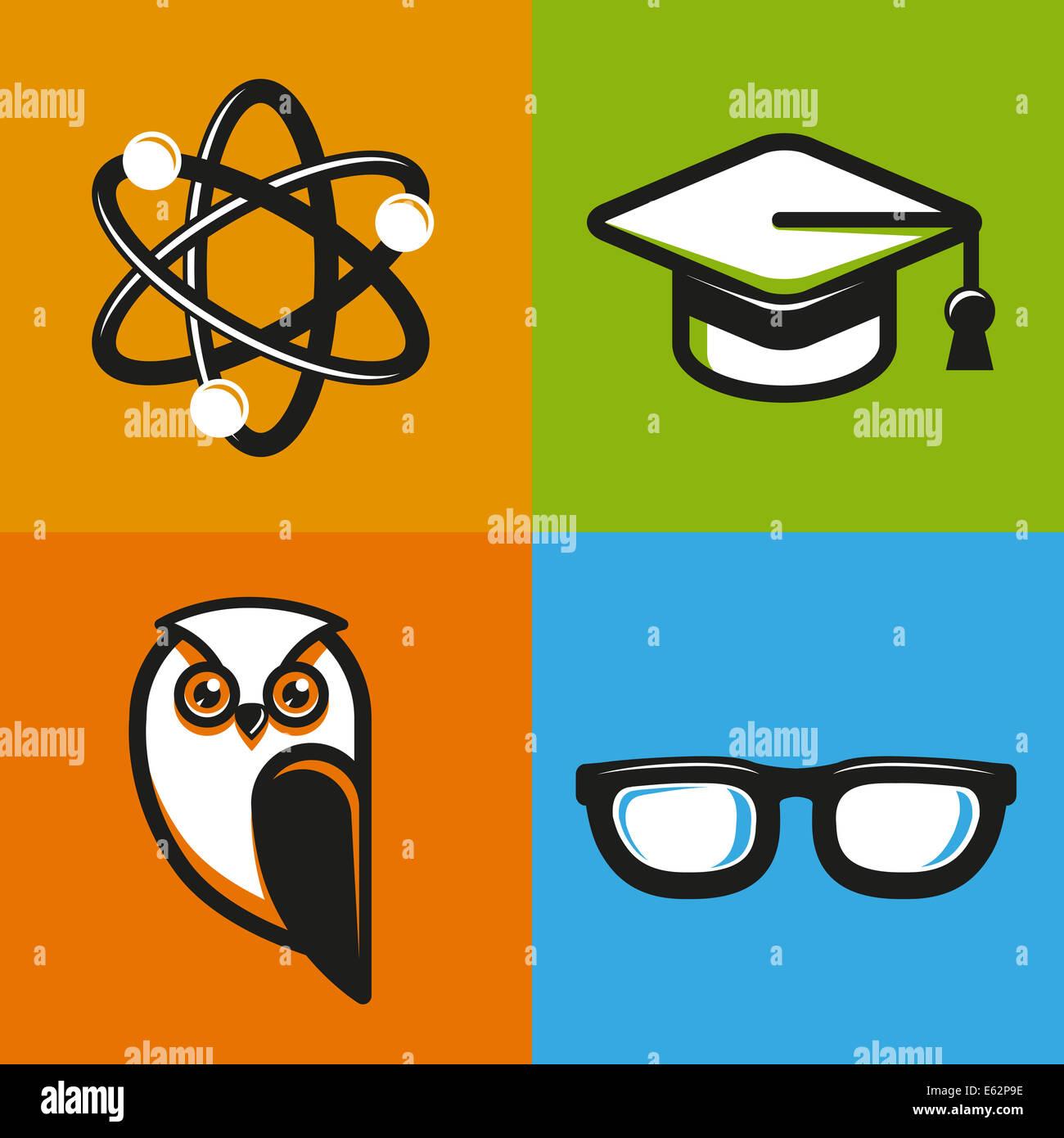 Bildungskonzepte in flachen Umriss-Stil - Schule und Universität Symbole und Zeichen Stockbild