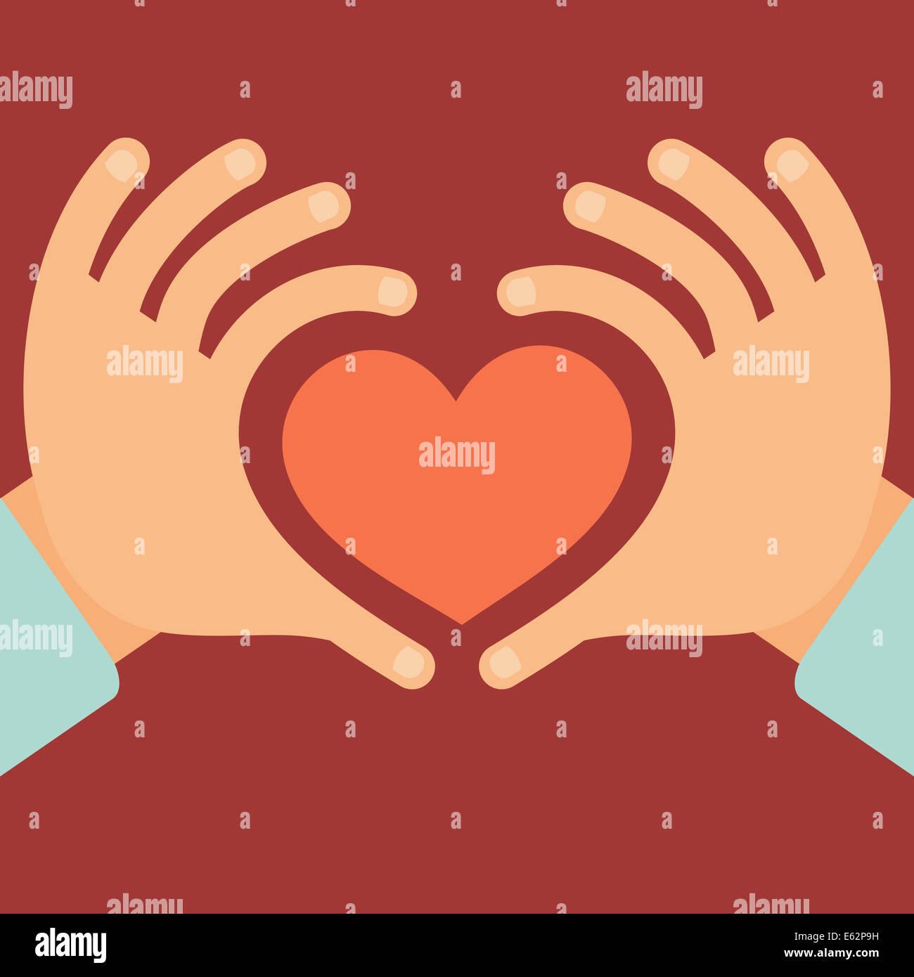 Hände in Form von Herz - Liebe und Nächstenliebe Konzept im flachen Stil Stockbild