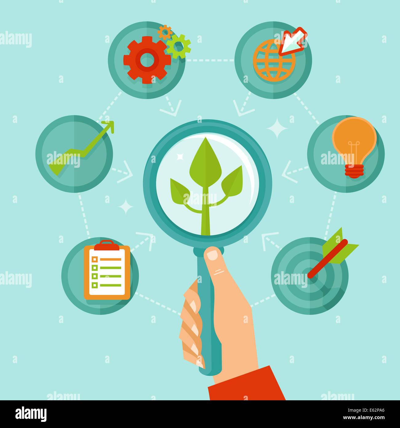 Persönliche Entwicklungskonzept im flachen Stil - Infografik-Design-Elemente und Symbole Stockbild