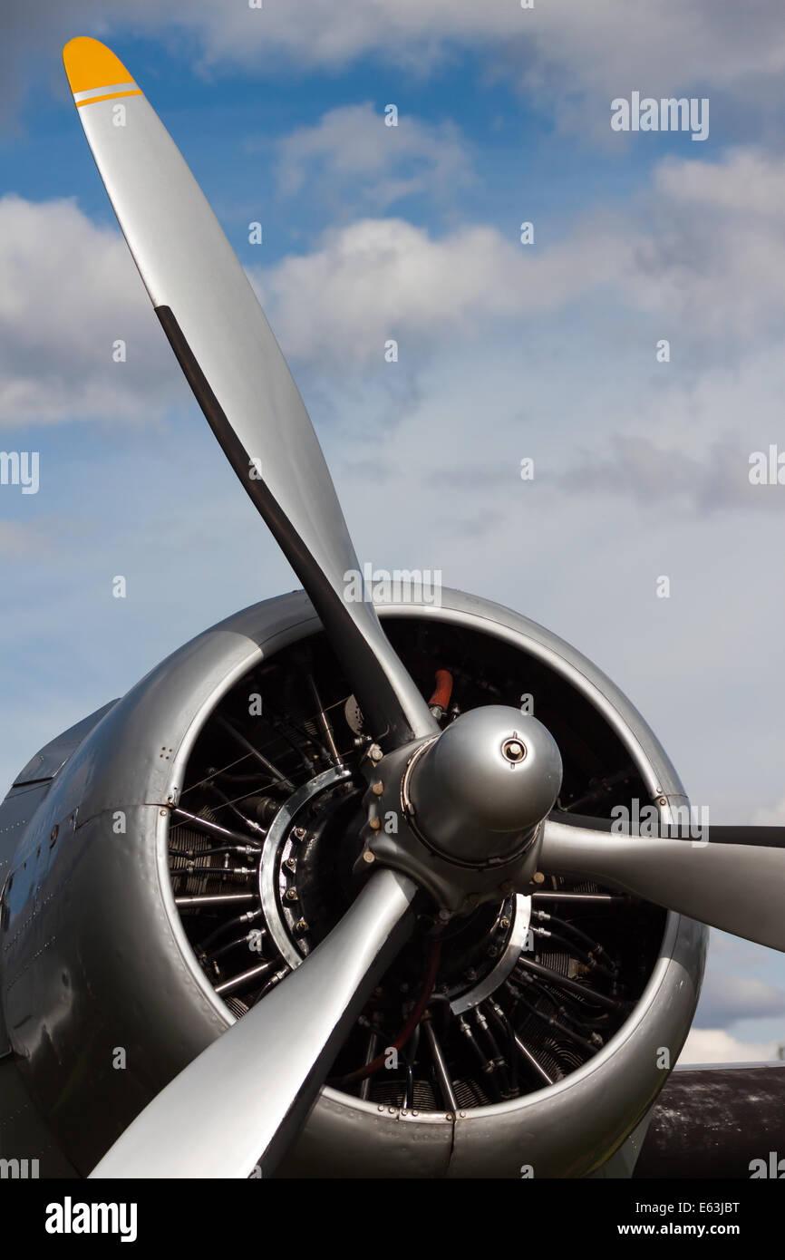 Sehr altes Flugzeug Flugzeug propeller Stockbild