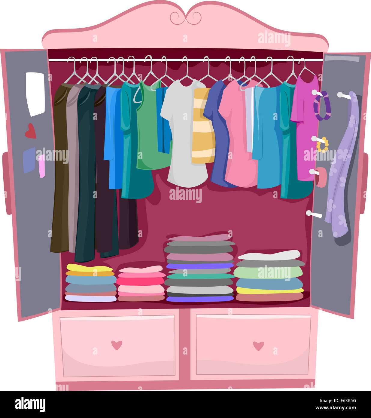 Kleiderschrank clipart  Abbildung von einem rosa Kleiderschrank voller Damenkleidung ...