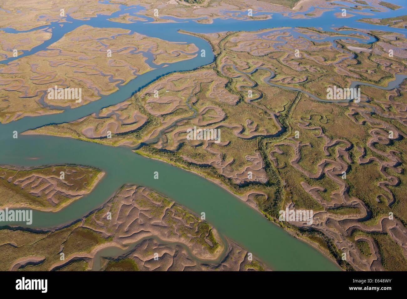 Luftaufnahme von Marschland Provinz Huelva, Spanien Stockbild