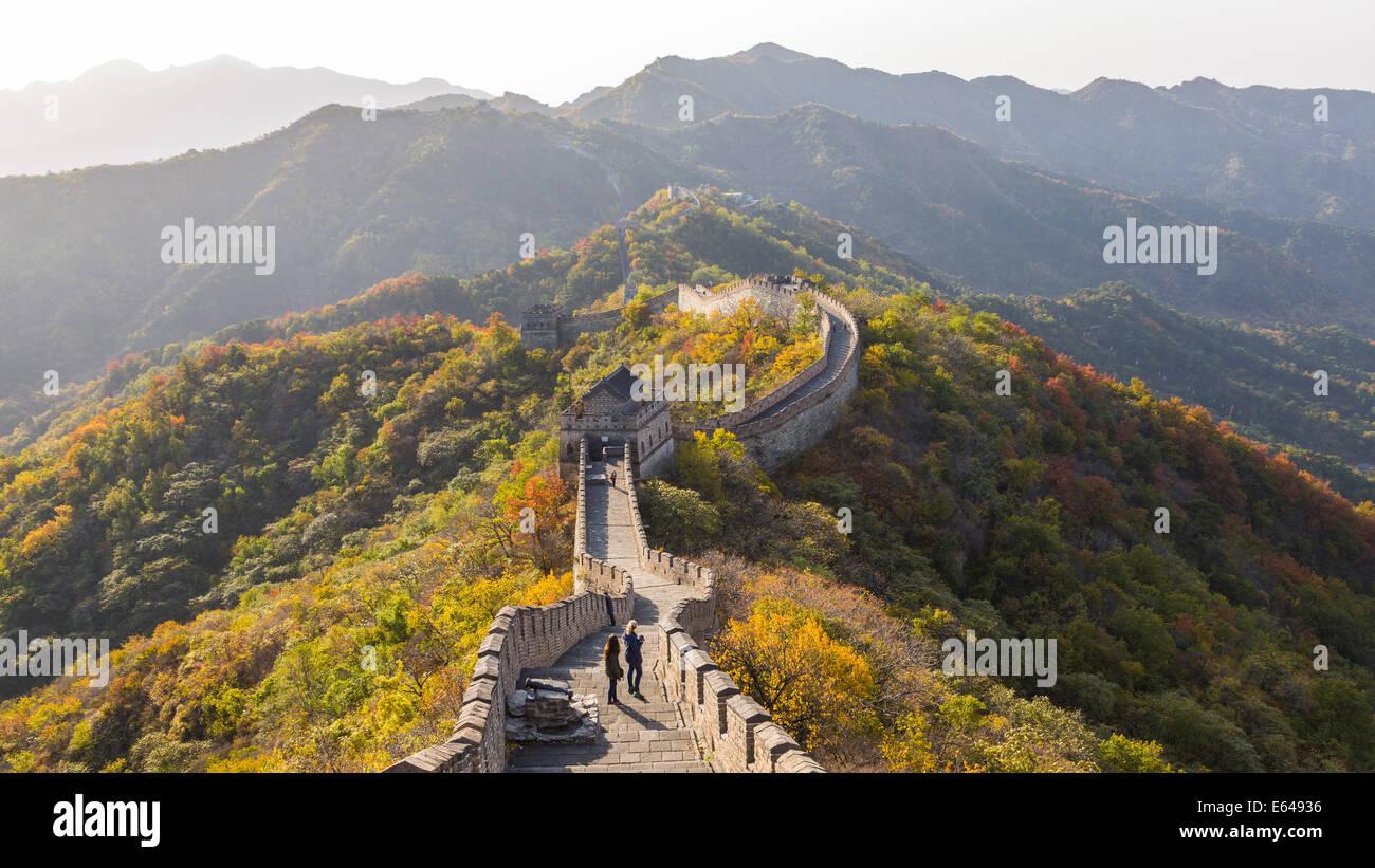 Die große Mauer bei Mutianyu nr Peking in der Provinz Hebei, China Stockbild