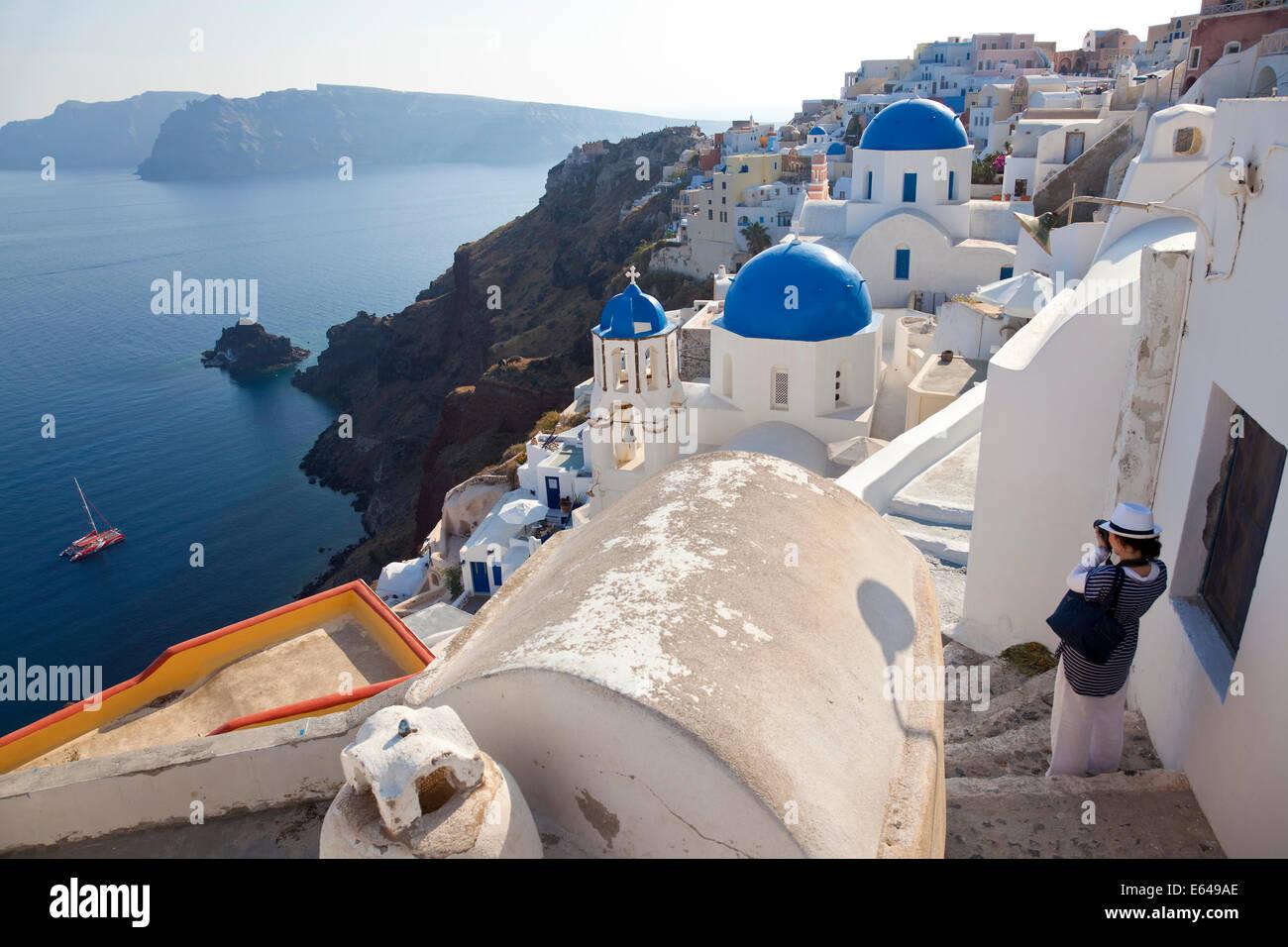Das Dorf von Oia Santorini Kykladen-Inseln, Griechenland Stockbild