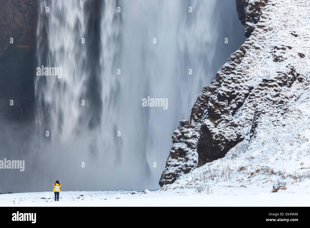 Skogafoss Wasserfall Süd-west Island Stockbild