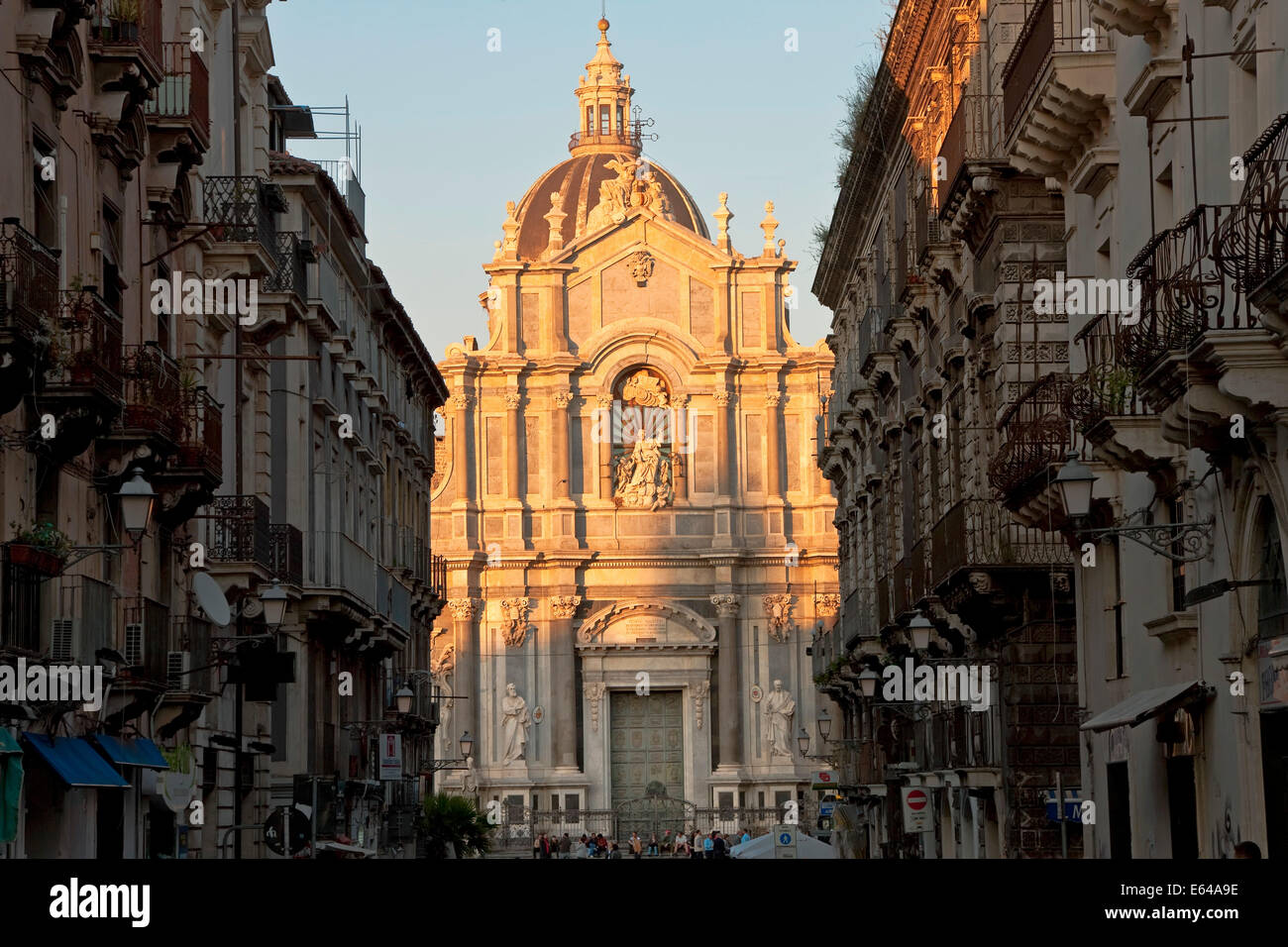 Außenansicht der Kathedrale Sant Agata, Catania, Sizilien, Italien Stockbild