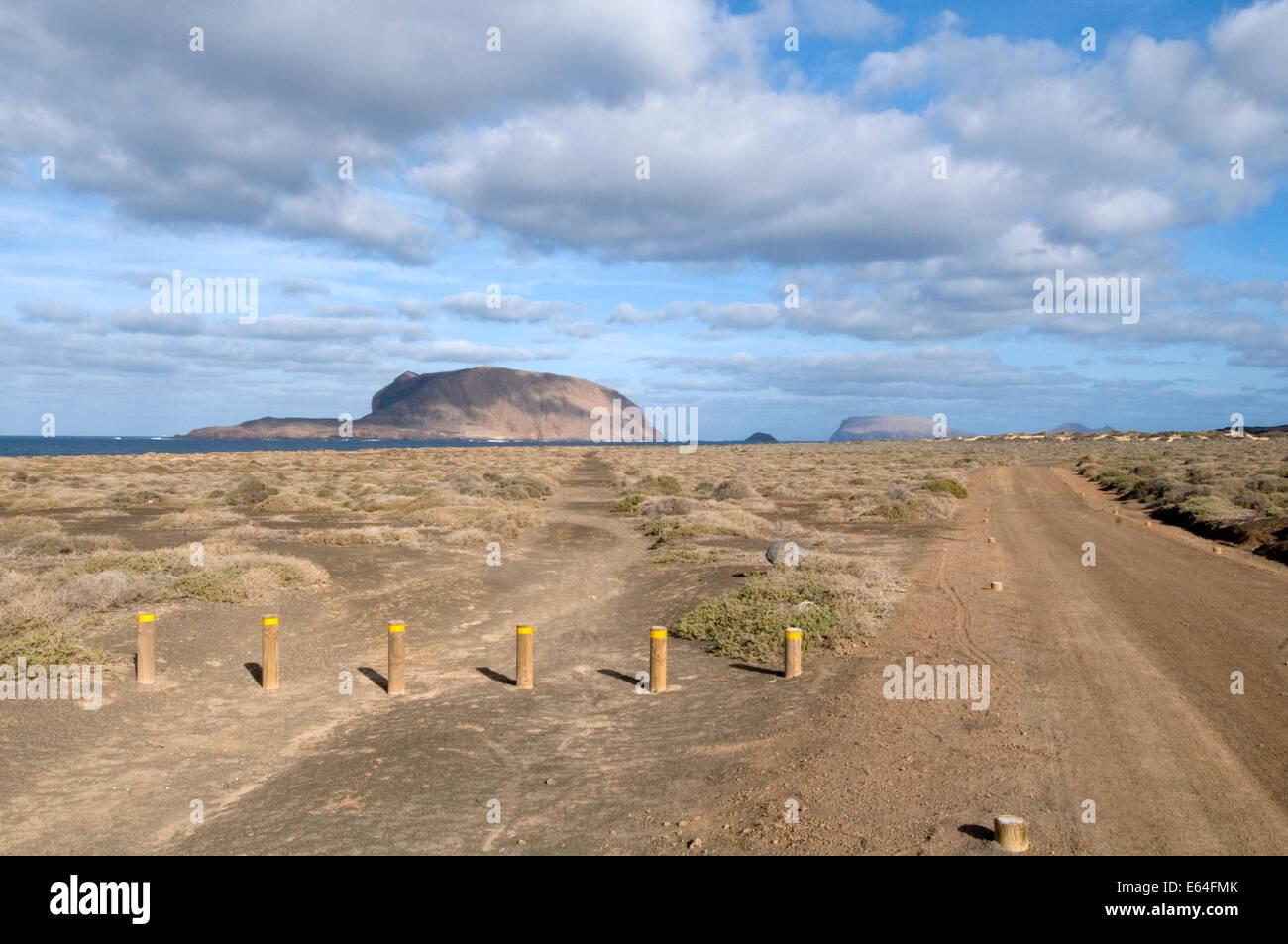 Isla la Graciosa Lanzarote Parque respects del Archipielago Chinijo Playa de las Conchas einsamen Strand leer natürlichen Stockbild