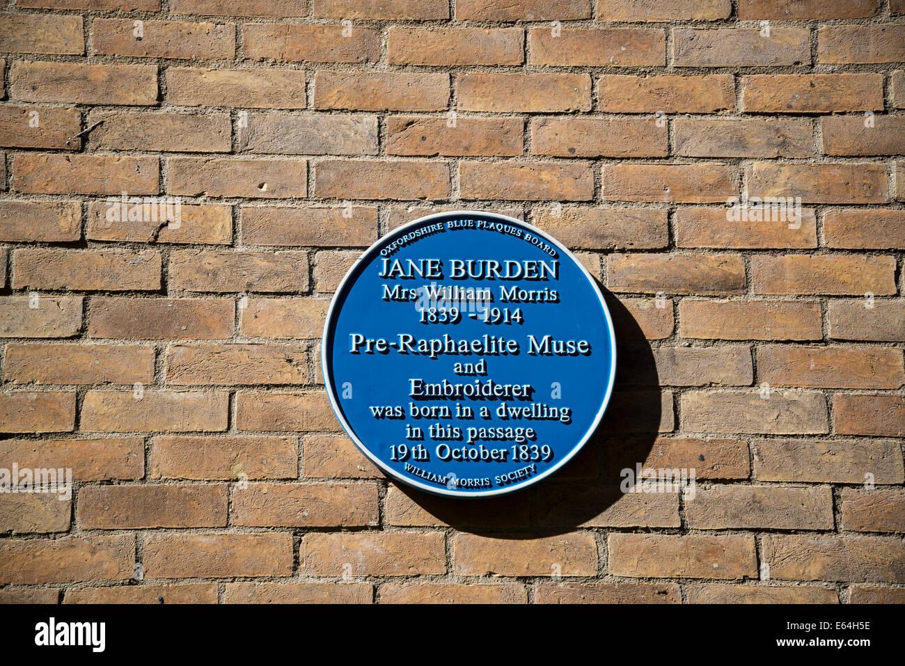 Blaue Gedenktafel für Jane Burden aka Frau William Morris, Oxford, England, UK Stockbild