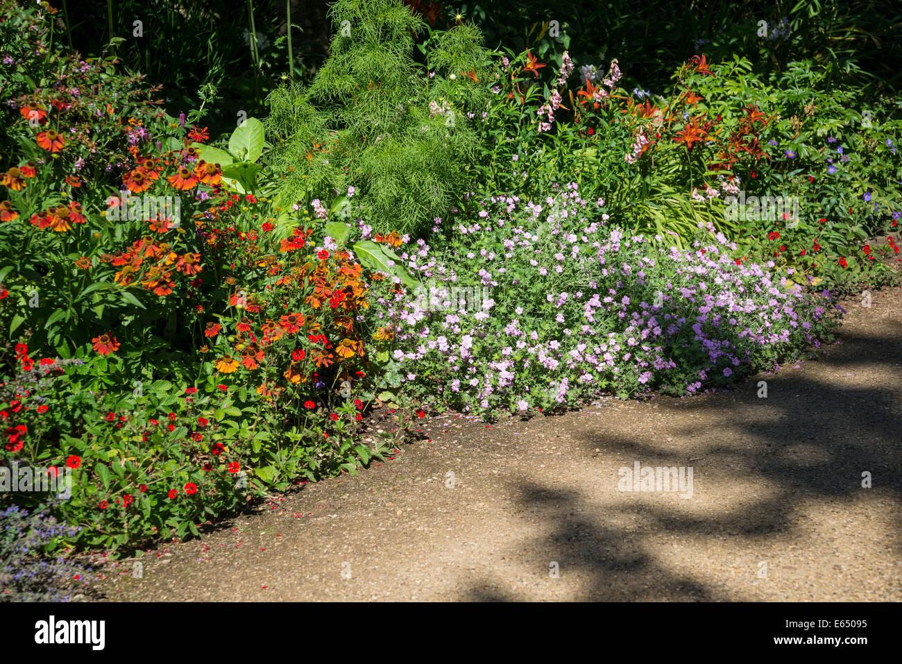 Sommer krautige Grenze, New College Gardens, Oxford, England, UK Stockbild