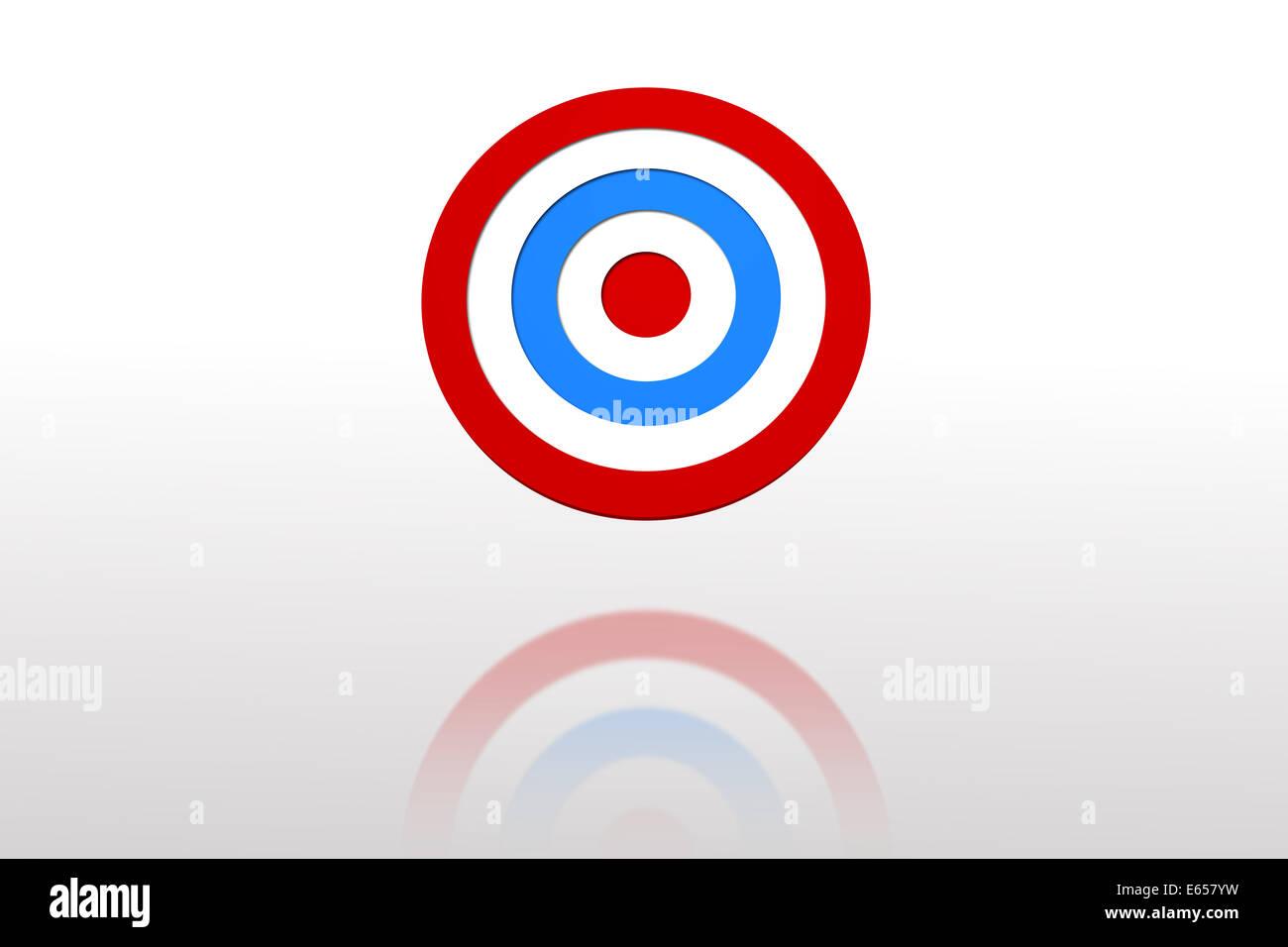 Digital erzeugte blaue und rote Ziel Stockbild