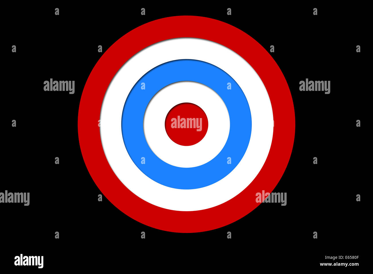 Digital generiert, rot und blau Ziel Stockbild