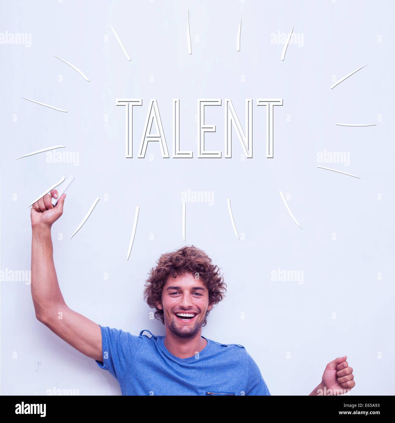 Talent gegen glückliche Schüler holding Kreide Stockbild