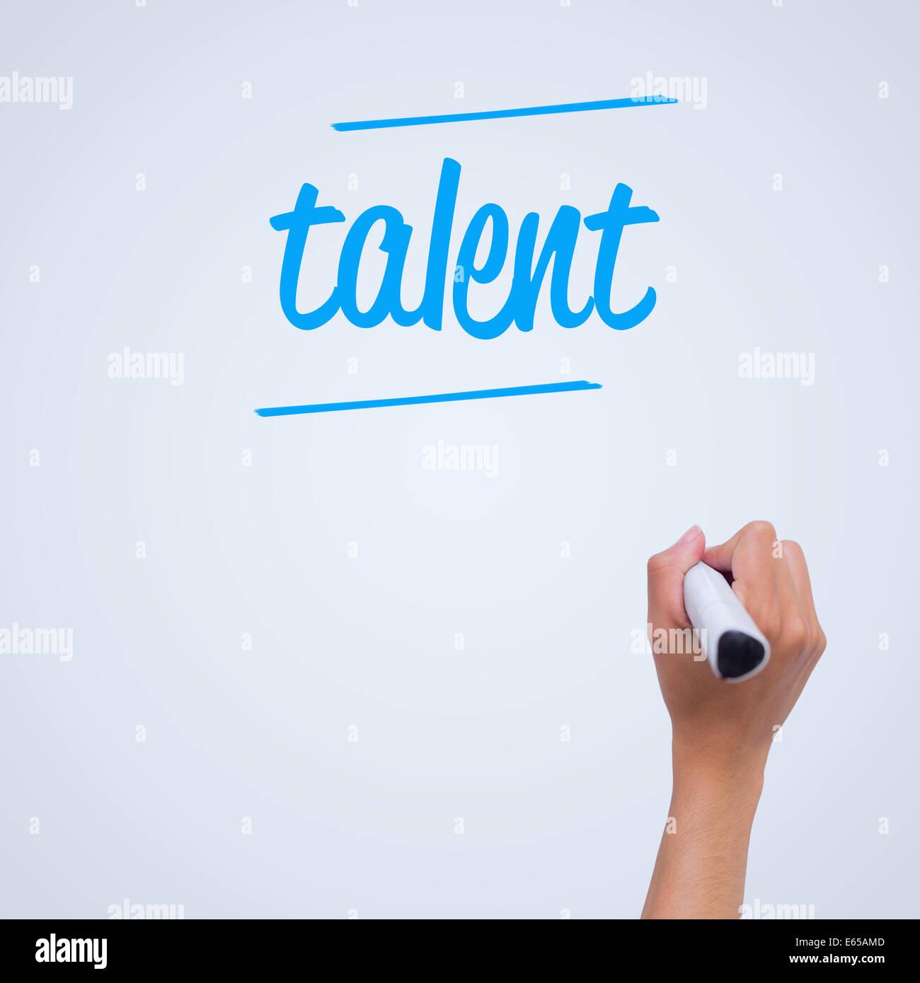 Talent gegen weibliche Handschrift mit marker Stockbild